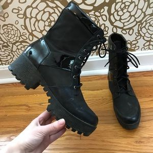 Urban Outfitters Black Chunky Heel Combat Boots